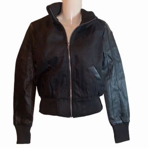 NWT Faux leather and wool bomber jacket